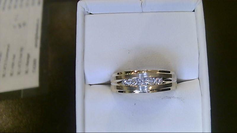 Gent's Gold-Diamond Wedding Band 7 Diamonds .07 Carat T.W. 14K Yellow Gold 3.3g