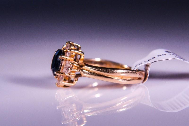 Synthetic Sapphire Lady's Stone & Diamond Ring 12 Diamonds .48 Carat T.W.