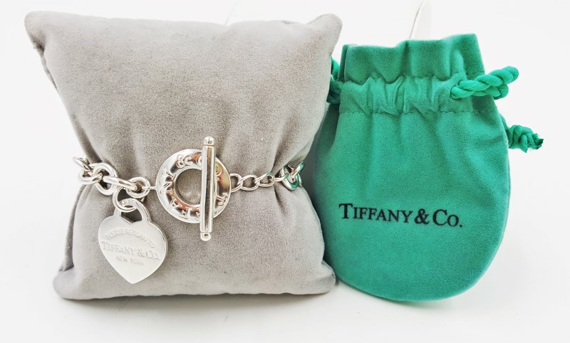 Tiffany & Co Silver Return to Heart Tag Toggle Charm Bracelet 6.5""