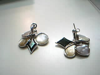 Synthetic Mother Of Pearl Silver-Stone Earrings 925 Silver 14.1g