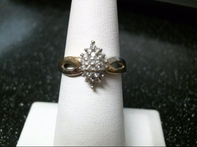 Lady's Diamond Cluster Ring 20 Diamonds .20 Carat T.W. 10K 2 Tone Gold 3.1g