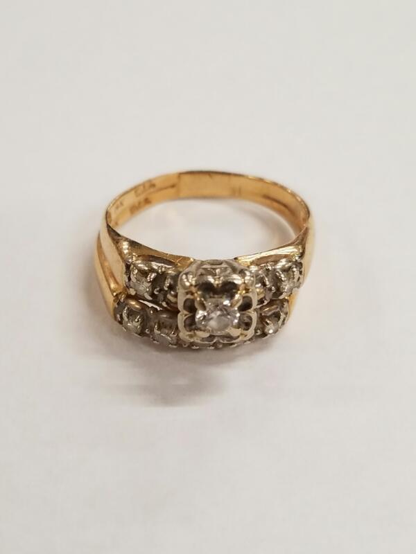 Lady's Diamond Wedding Set .01 CT. 14K Yellow Gold 3.9g