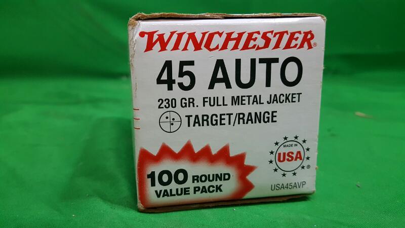 Winchester USA FMJ .45 Automatic 100-round 230-Grain Target Handgun Ammunition