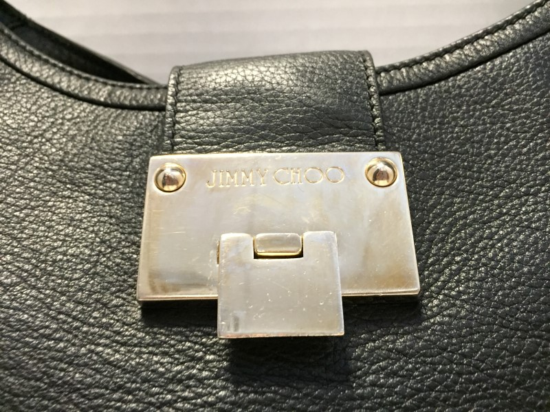 JIMMY CHOO BLACK LEATHER GROMMET HANDLE SHOULDER BAG