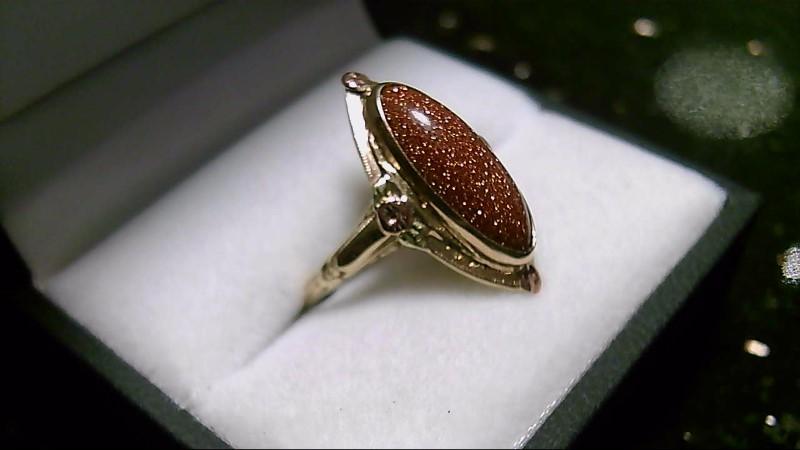 Goldstone Lady's Stone Ring 10K Yellow Gold 3g Size:6.5