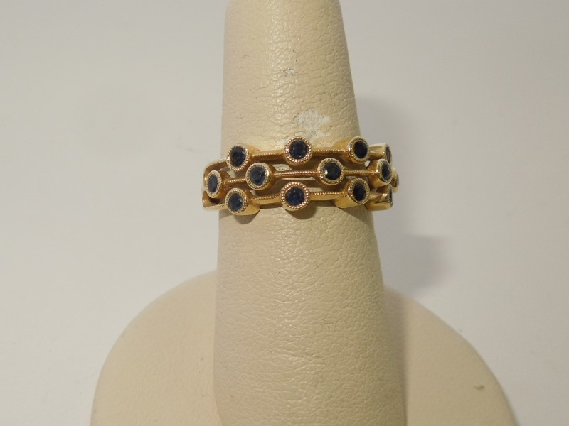 Synthetic Sapphire Lady's Stone Ring 14K Yellow Gold 3.5g