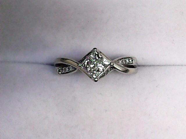 Lady's Diamond Engagement Ring 12 Diamonds .48 Carat T.W. 10K White Gold 2.3dwt