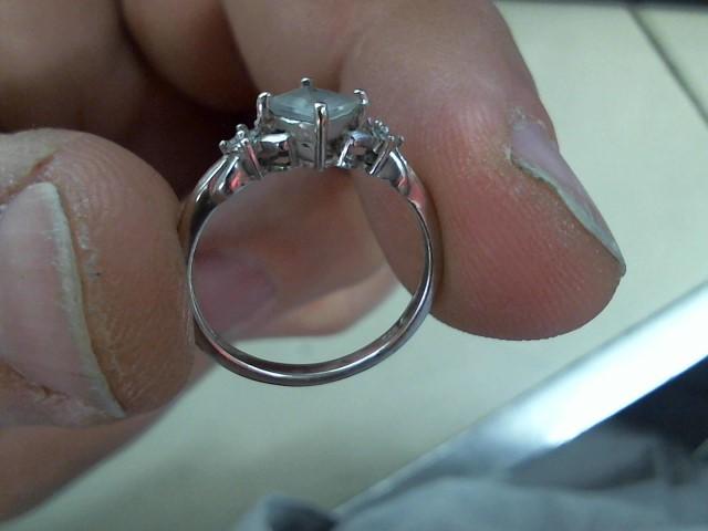 Blue Stone Lady's Stone Ring 10K White Gold 1.6g