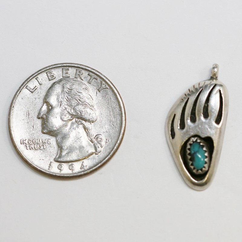 Vintage Inspired Tribal Silver Bear Claw Charm With Turquoise Stone