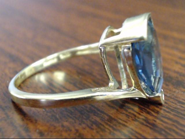 VINTAGE SANUK PEAR CUT BLUE TOPAZ RING SOLID REAL 10K GOLD DROP SZ 6