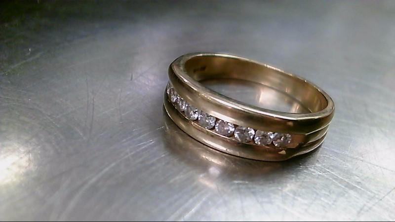 Gent's Gold-Diamond Wedding Band 9 Diamonds .90 Carat T.W. 14K Yellow Gold 7.2g