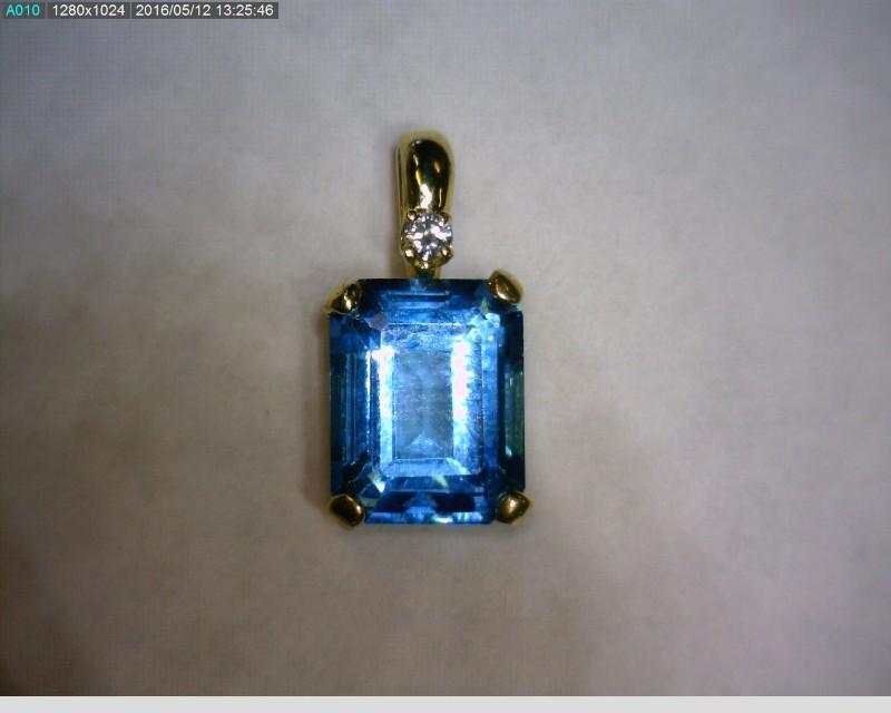 Blue Topaz Gold-Diamond & Stone Pendant .02 CT. 14K Yellow Gold 0.91dwt
