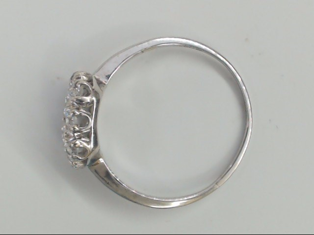 VINTAGE TWIN 2 NATURAL DIAMOND RING SOLID REAL 14K WHITE GOLD 9.75