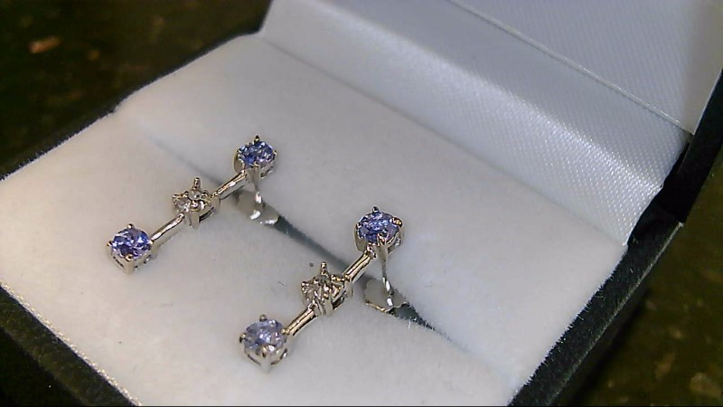 Lady's 10k white gold round tanzanite and diamond earrings
