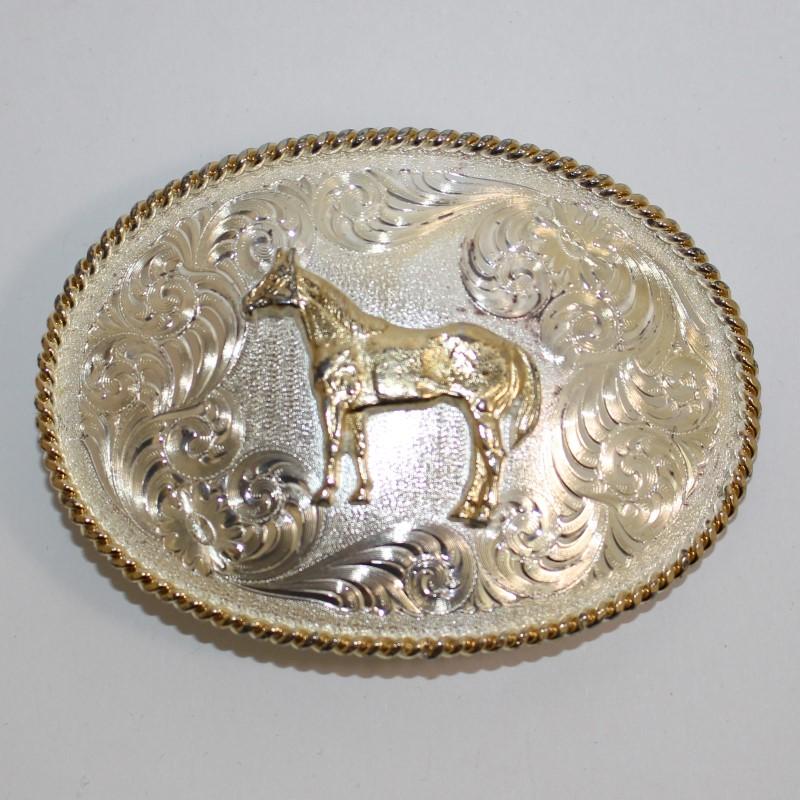 """MONTANA SILVERSMITHS """"HORSE"""" BELT BUCKLE, 2.5 x 3.5"""", SILVER PLATED BRASS."""