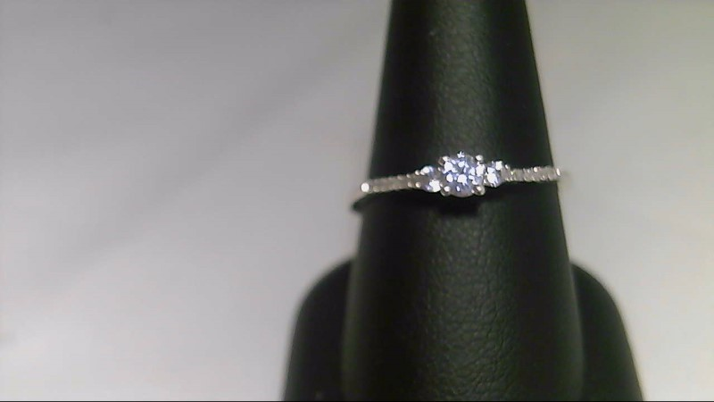 lady's sterling silver 925 sz 9 1/4 with 3 round cz's and 12-1mm rd diamonds