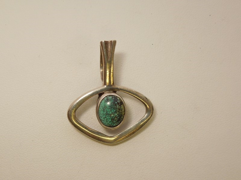 Synthetic Turquoise Silver-Stone Pendant 925 Silver 6.1g