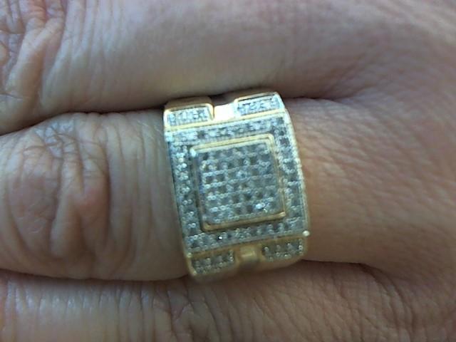 Gent's Diamond Fashion Ring 84 Diamonds .168 Carat T.W. 10K Yellow Gold 4.2g
