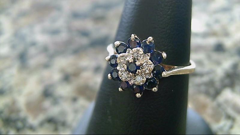 Sapphire Lady's Stone & Diamond Ring 5 Diamonds .05 Carat T.W. 10K Yellow Gold