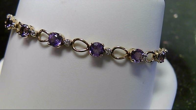 "7.5"" Amethyst & Diamond 10K Yellow Gold Bracelet 0.14CTTW"