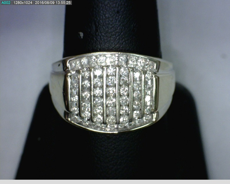Gent's Diamond Cluster Ring 53 Diamonds 1.24 Carat T.W. 10K White Gold 4.2dwt
