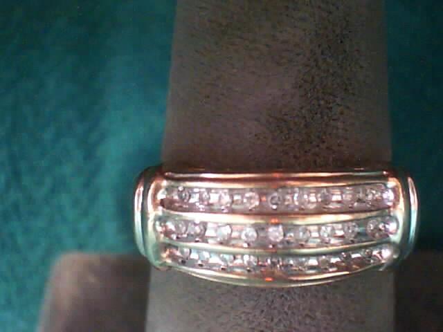 Lady's Diamond Fashion Ring 27 Diamonds .135 Carat T.W. 10K Yellow Gold 1.9dwt