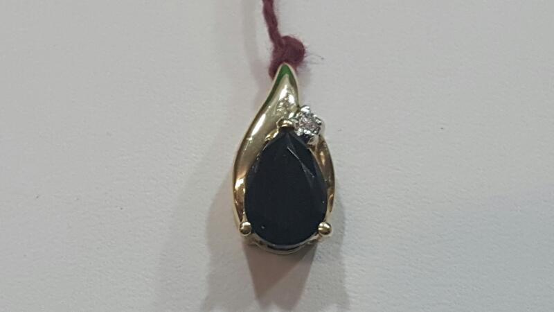 Sapphire Gold-Diamond & Stone Pendant .02 CT. 14K Yellow Gold 1.4g