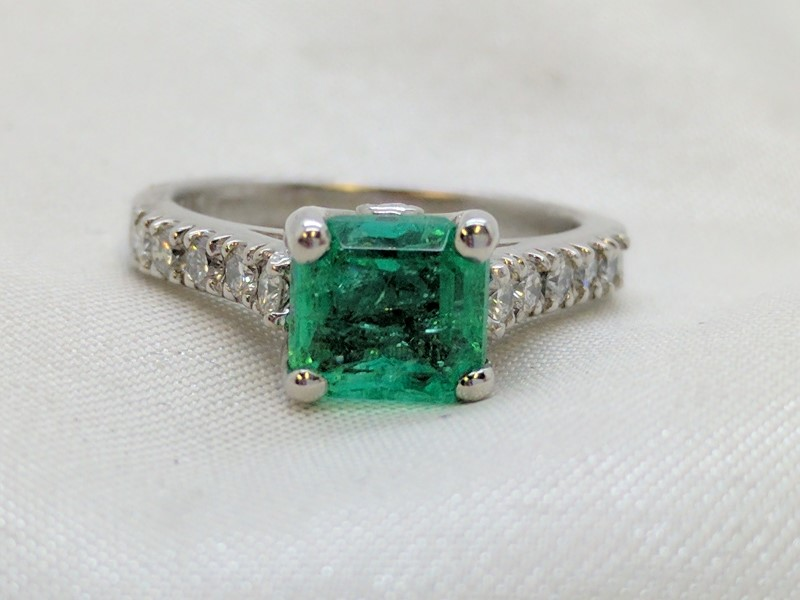 Emerald Lady's Stone & Diamond Ring 10 Diamonds .30 Carat T.W. 14K White Gold