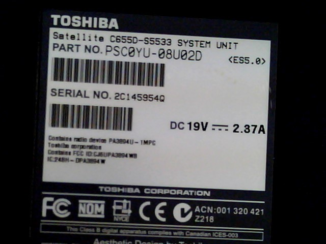 TOSHIBA Laptop/Netbook SATELLITE C655D-S5533