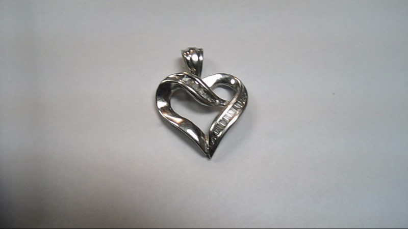 14K White Gold & Diamond Heart Pendant 1.7g - Perfect for Mother's Day Free S/H