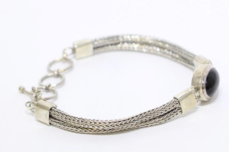 Sterling Silver Double Wheat Link Cabochon Black Onyx Toggle Bracelet