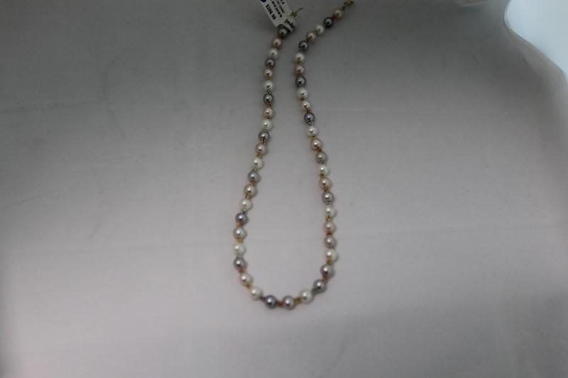 """15"""" Inch Tri Color Black Gray White Pearl Necklace"""