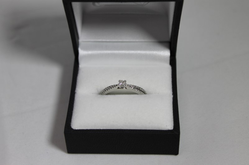 Princess Cut and Round Diamond Sterling Silver Wedding Set Size 7