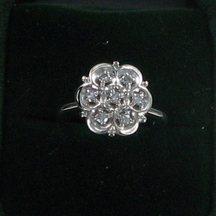 Lady's Diamond Fashion Ring 7 Diamonds .35 Carat T.W. 14K White Gold 3.1dwt