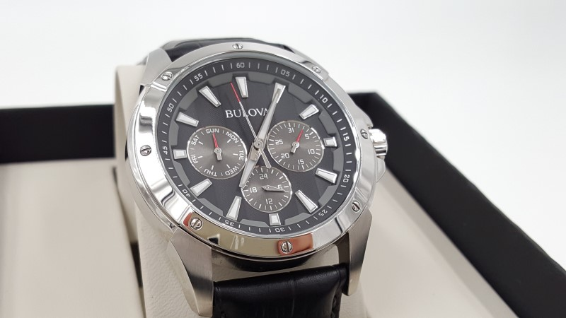 Bulova Men's Quartz Watch Stainless Steel Black Dial & Leather Band