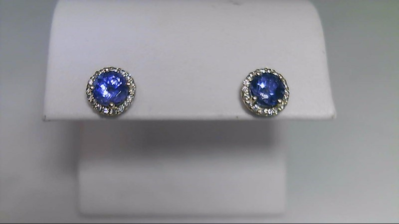 Round Genuine Tanzanite Diamond Stud Earrings 14K YG Yellow Gold
