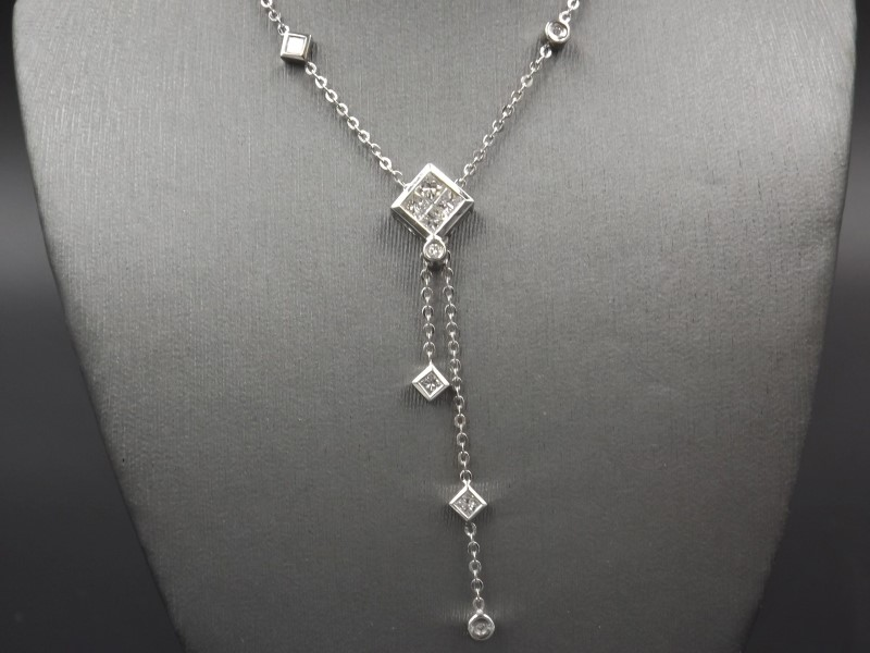 Diamond Necklace 12 Diamonds .52 Carat T.W. 18K White Gold 4.5g