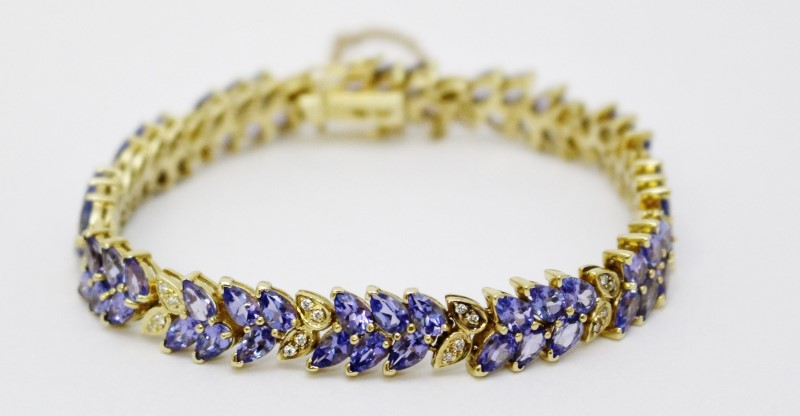 "6.5"" 14K Yellow Gold Pear Tanzanite Leaf Diamond Tennis Bracelet Fall"