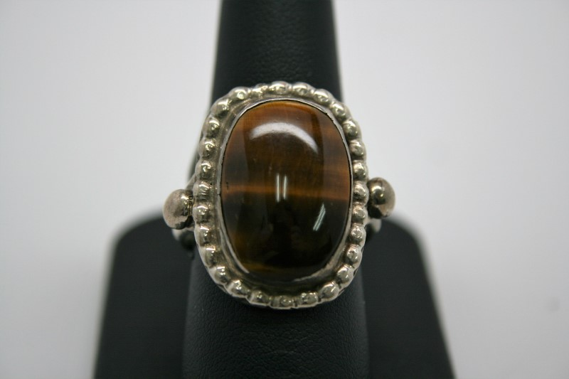 TIGER'S EYE SILVER RING 9