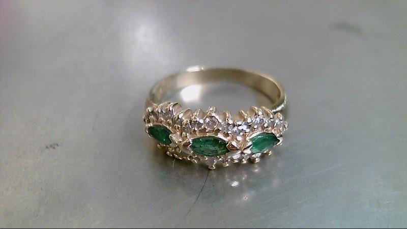 Emerald Lady's Stone & Diamond Ring 28 Diamonds .56 Carat T.W. 14K Yellow Gold