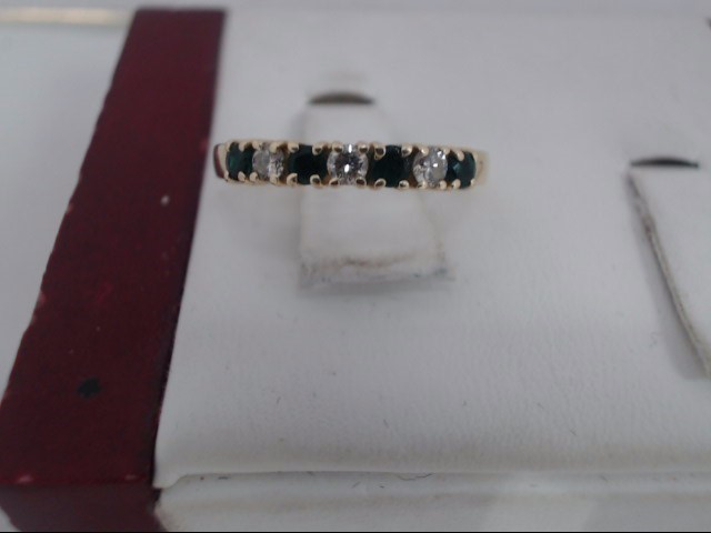 Green Stone Lady's Stone & Diamond Ring 3 Diamonds .09 Carat T.W.