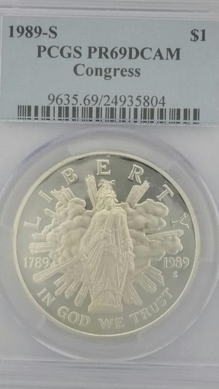 1989 S Bicentennial of Congress Liberty $1 Dollar Coin PCGS PR69DCAM