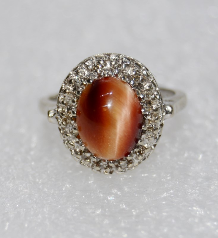 14K White Gold Cabochon Chrysoberyl Orange Cat's Eye & Diamond Halo Ring sz 6