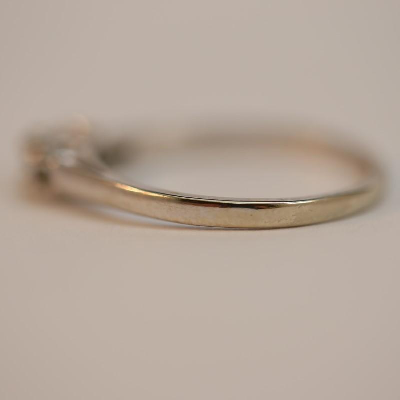 14K White Gold Round Brilliant Diamond Engagement Ring Size 8.25