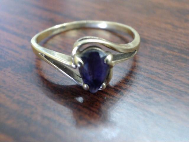 Purple Stone Lady's Stone Ring 10K Yellow Gold 1.4g Size:6.5