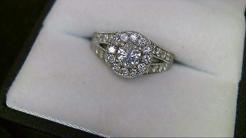 Lady's 37 Diamond Halo 14K White Gold Engagement Ring