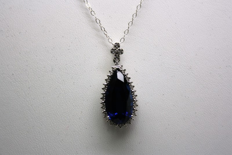 SYNTHETIC  SAPPHIRE WITH DIAMOND 14K WHITE GOLDM PENDANT