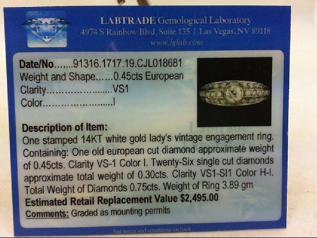 Lady's Diamond Wedding Band 27 Diamonds .75 Carat T.W. 14K White Gold 3.89g