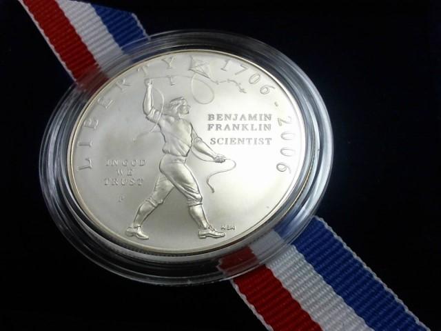 UNITED STATES Silver Coin BENJAMIN FRANKLIN SCIENTIST COMMEMORATIVE