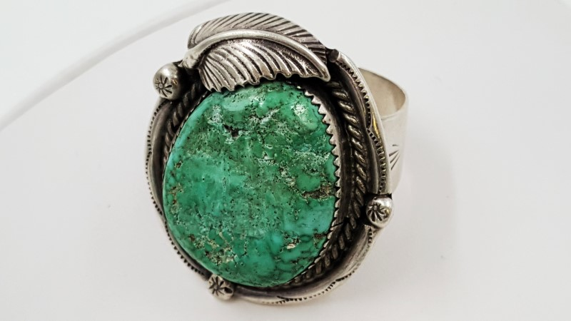 Men's Turquoise & Sterling Silver Ring W/ Feather Accent Size: 13